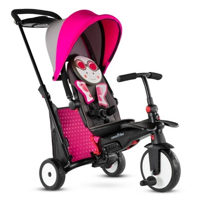 smarTrike Butterfly Zoo Animal 7 in 1 Folding  Stroller Tricycle with Secure Safety Harness for Baby, Toddler, and Infant Ages 9 Months to 3 Years