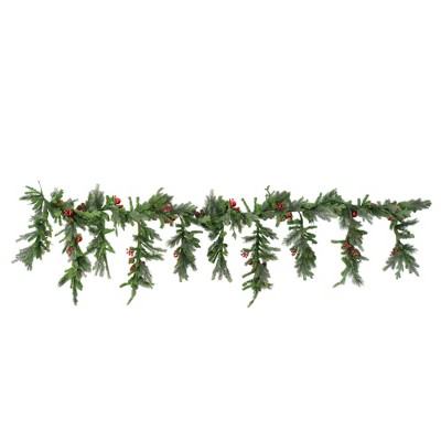 "Vickerman 6.5' x 35"" Unlit Red Berry and Ball Ornament Mixed Pine Artificial Christmas Garland"