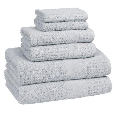 6pc Checkered Bath Towel Set Cielo - Cassadecor