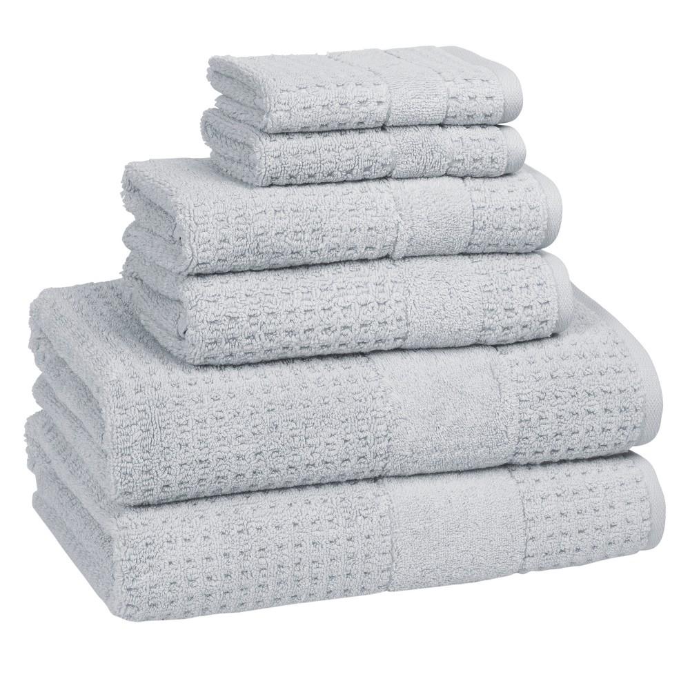 Image of 6pc Checkered Bath Towel Set Cielo - Cassadecor