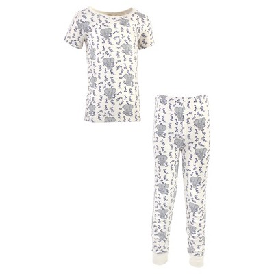 Touched by Nature Baby, Toddler and Kids Boy Organic Cotton Tight-Fit Pajama Set, Blue Elephant