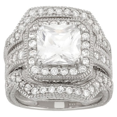 3.94 CT. T.W. Cubic Zirconia Engagement Ring Set In Sterling Silver