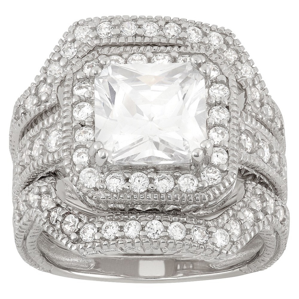 3.94 CT. T.W. Square-Cut 3-Piece Bridal Cubic Zirconia Ring Set In Sterling Silver - (8), Girl's