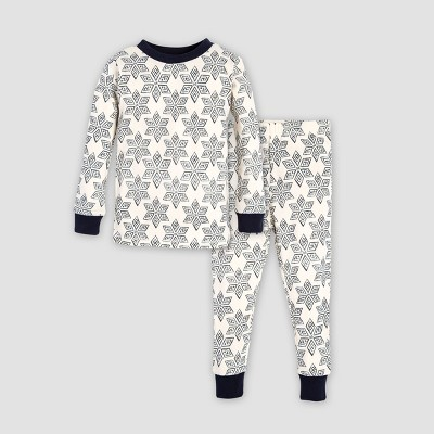 Burt's Bees Baby Baby Organic Cotton Arctic Snowflake Pajama Set - Navy Blue/Off White 6-9M