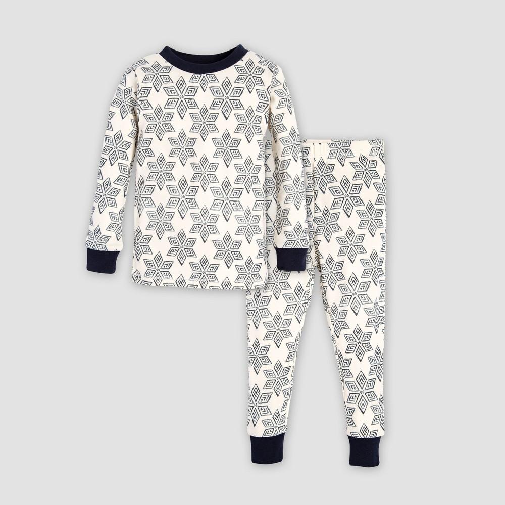 Burt's Bees Baby Baby Organic Cotton Arctic Snowflake Pajama Set - Navy Blue/Off White 0-3M, Infant Unisex