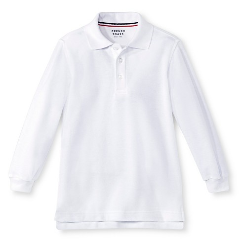 736d47323 French Toast Toddler Boys' Long Sleeve Pique Uniform Polo Shirt - White 4T