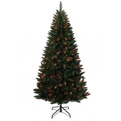 Kurt Adler 7' Pre-Lit Pine Tree with Multi-Colored Lights