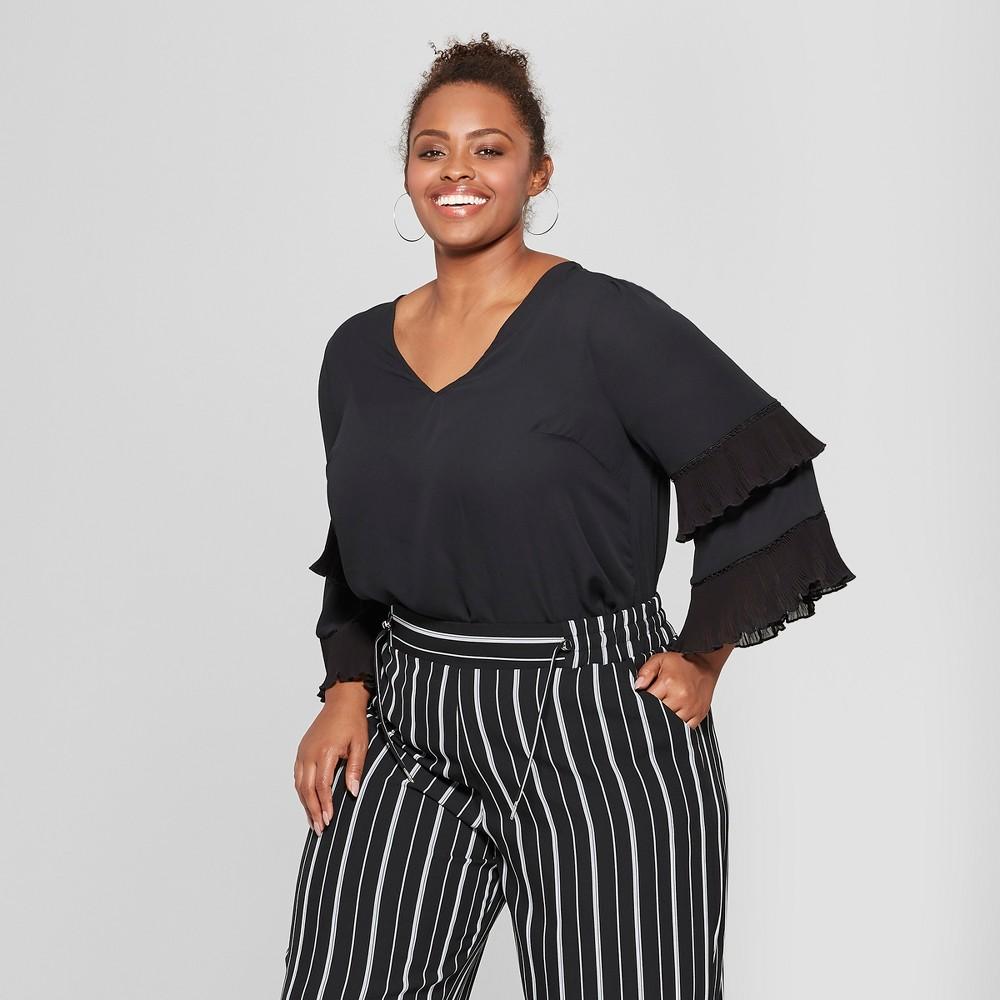 Women's Plus Size Pleated Long Sleeve Blouse - Ava & Viv Black 1X