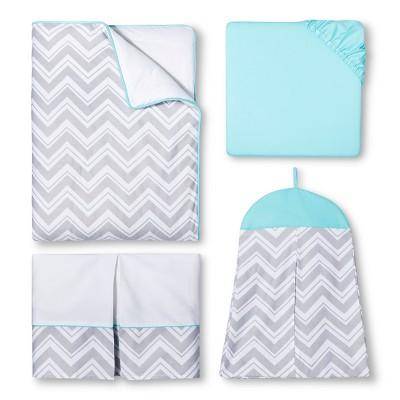 Sweet Jojo Designs Gray Chevron with Turquoise 11pc Crib Bedding Set