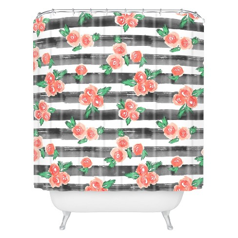 Watercolor Shower Curtain Red - Deny Designs® - image 1 of 4