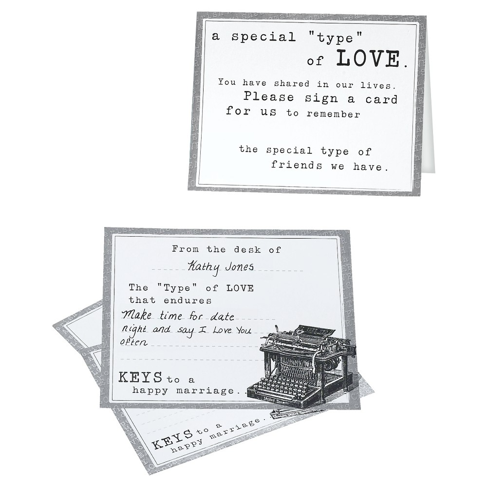 Typewriter Guest Cards (set of 48), White Typewriter guest cards are fun way for guests to share memories, advice and wishes for the new couple. Each set contains 48 cards; cards measure 5.5  x 4.25 . Color: White.