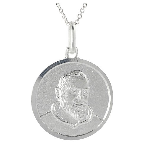 "Unisex Journee Collection Holy St. Padre Pio Signet Pendant Necklace in Sterling Silver - Silver (18"") - image 1 of 2"