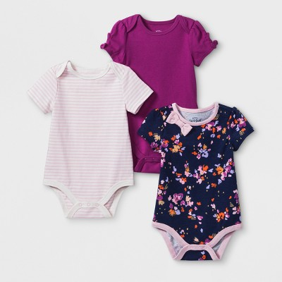 Baby Girls' 3pk Bodysuits Set - Cat & Jack™ Floral/Magenta 0-3M