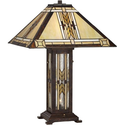 Franklin Iron Works Drake Mission Tiffany-Style Nightlight Lamp with Table Top Dimmer