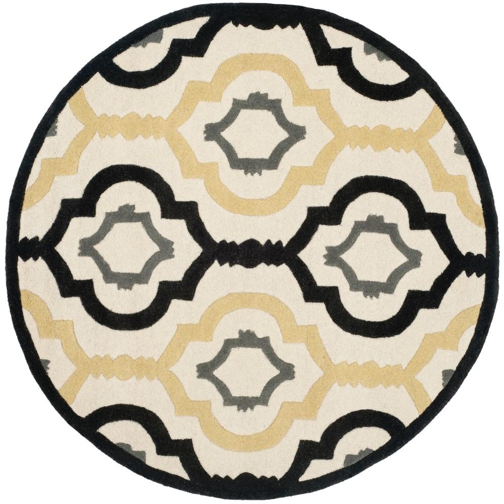 7' Geometric Round Area Rug Ivory - Safavieh, White