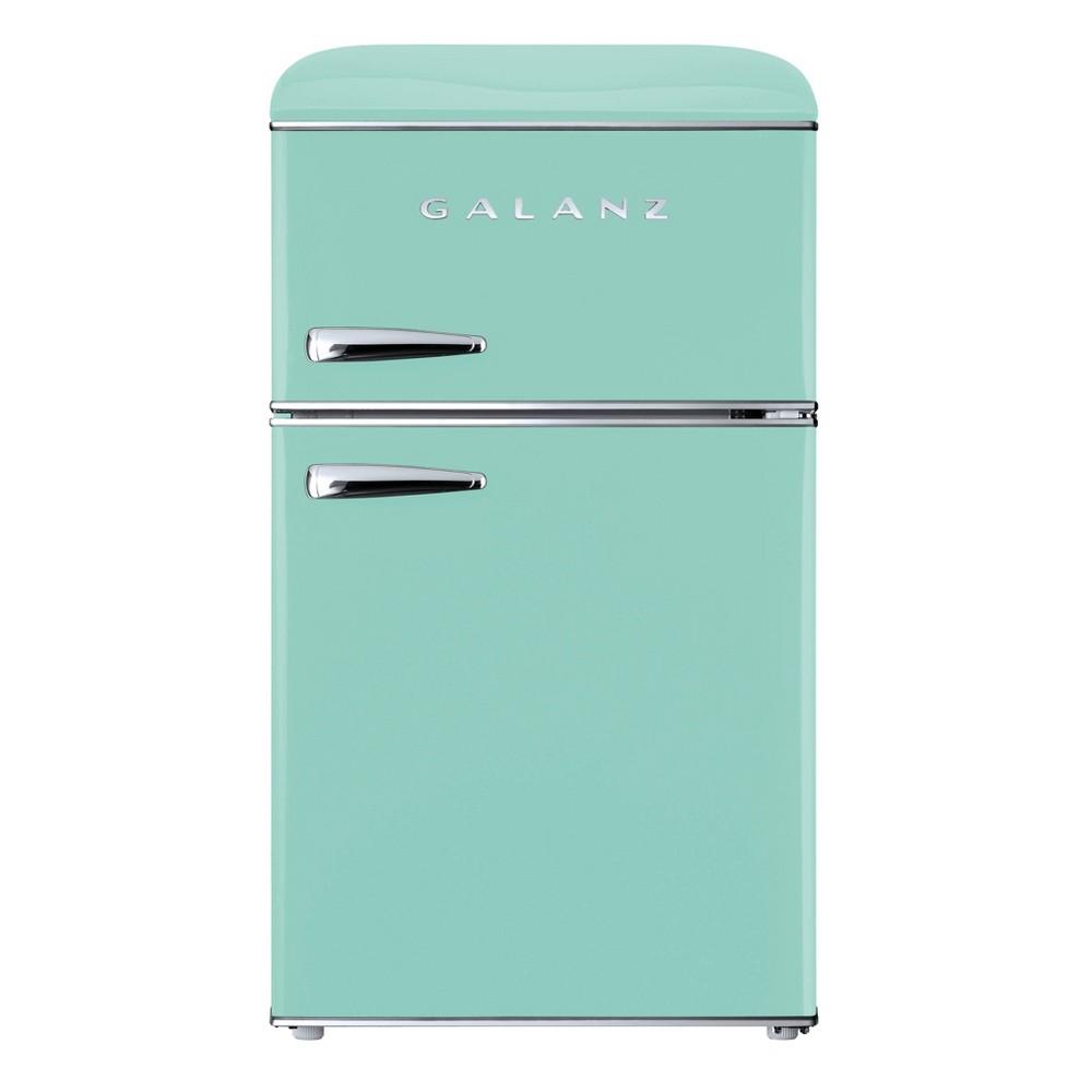 Galanz Retro 3.1 cu ft True Freezer Dual-Door Refrigerator - Green Galanz Retro 3.1 cu ft True Freezer Dual-Door Refrigerator - Green
