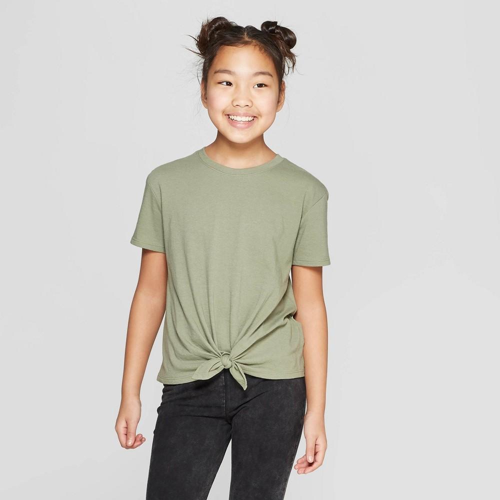 Girls' Short Sleeve Tie Front T-Shirt - art class Olive (Green) M
