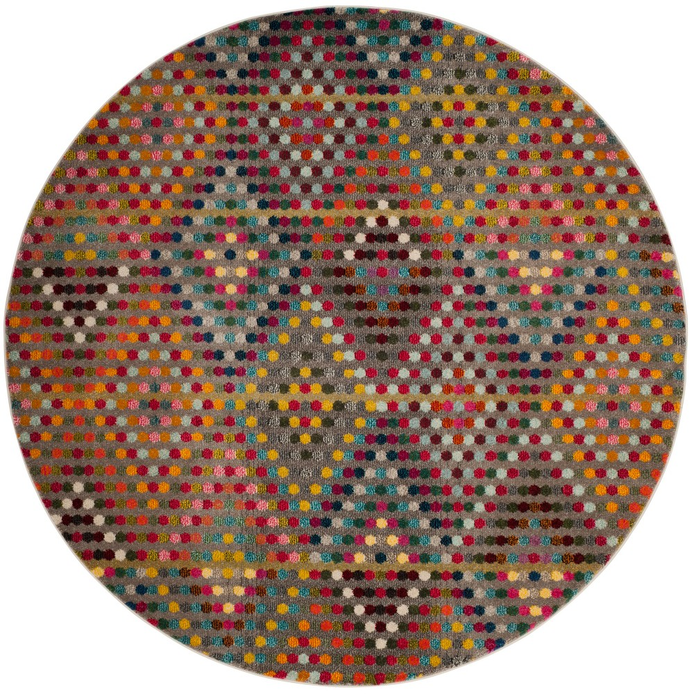 6'7 Geometric Round Area Rug Beige - Safavieh, Multi-Colored/Beige