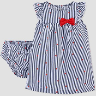 Baby Girls' 2pc Joy 4th of July Star Dress - Just One You® made by carter's Blue/Red 3M