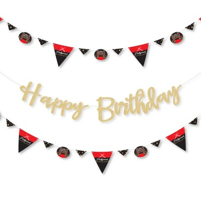 Big Dot of Happiness Red Carpet Hollywood - Movie Night Party Letter Banner Decor - 36 Cutouts & No-Mess Real Gold Glitter Happy Birthday Letters