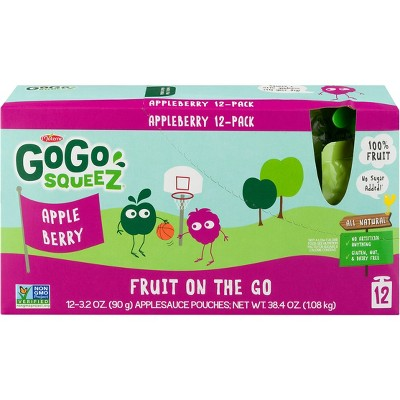 Gogo Squeez Applesauce On The Go Apple Berry Pouches - 3.2oz 12ct