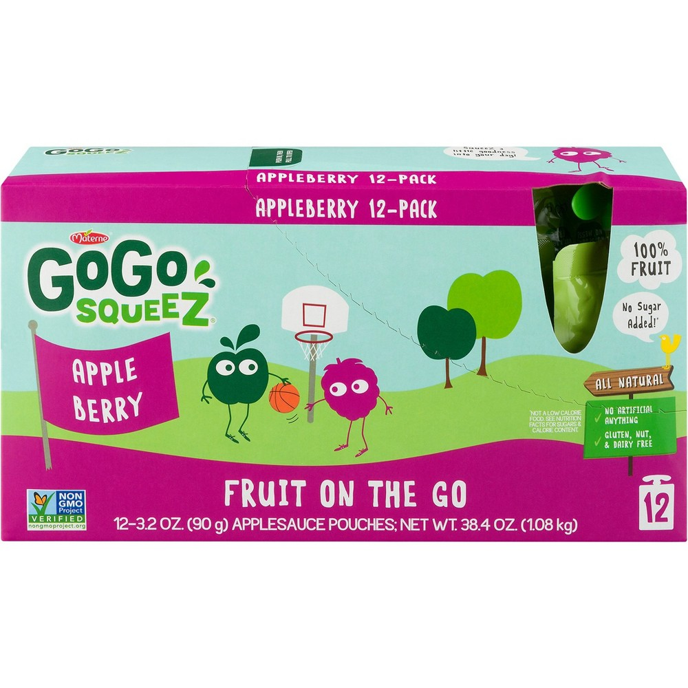 Gogo Squeez Applesauce On The Go Apple Berry Pouches - 3....