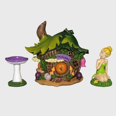Disney Tinker Bell 8  Miniature Resin Garden Set With Solar Tree House