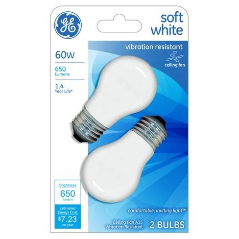 Ge 60 Watt Ceiling Fan Incandescent Light Bulb 2 Pack Soft White