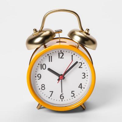 Double Bell Alarm Clock - Yellow - Threshold™