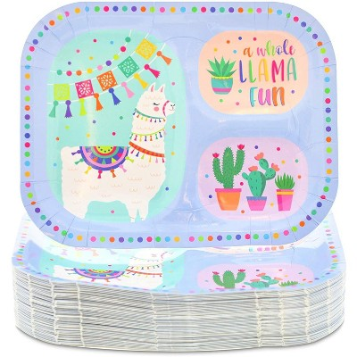 """Blue Panda 48 Pack Llama and Cactus Paper Plates for Kids Birthday, Baby Shower Party Supplies, 9.25x7"""""""