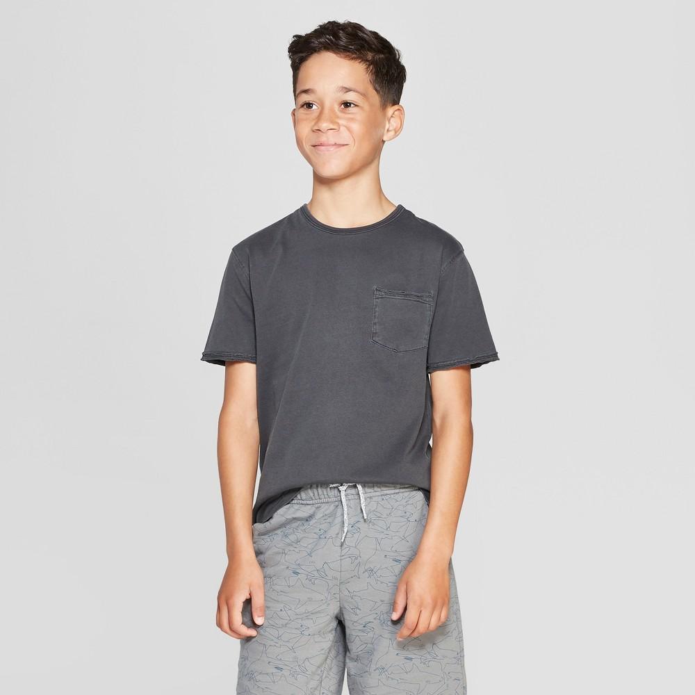 Boys' Burnout Wash Short Sleeve T-Shirt - Cat & Jack Charcoal Gray L