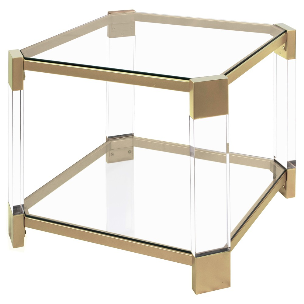 Huxley Clear Glass and End Table Gold - Silverwood