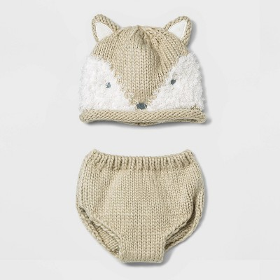 Baby Fox Hat and Diaper Cover Set - Cloud Island™ White