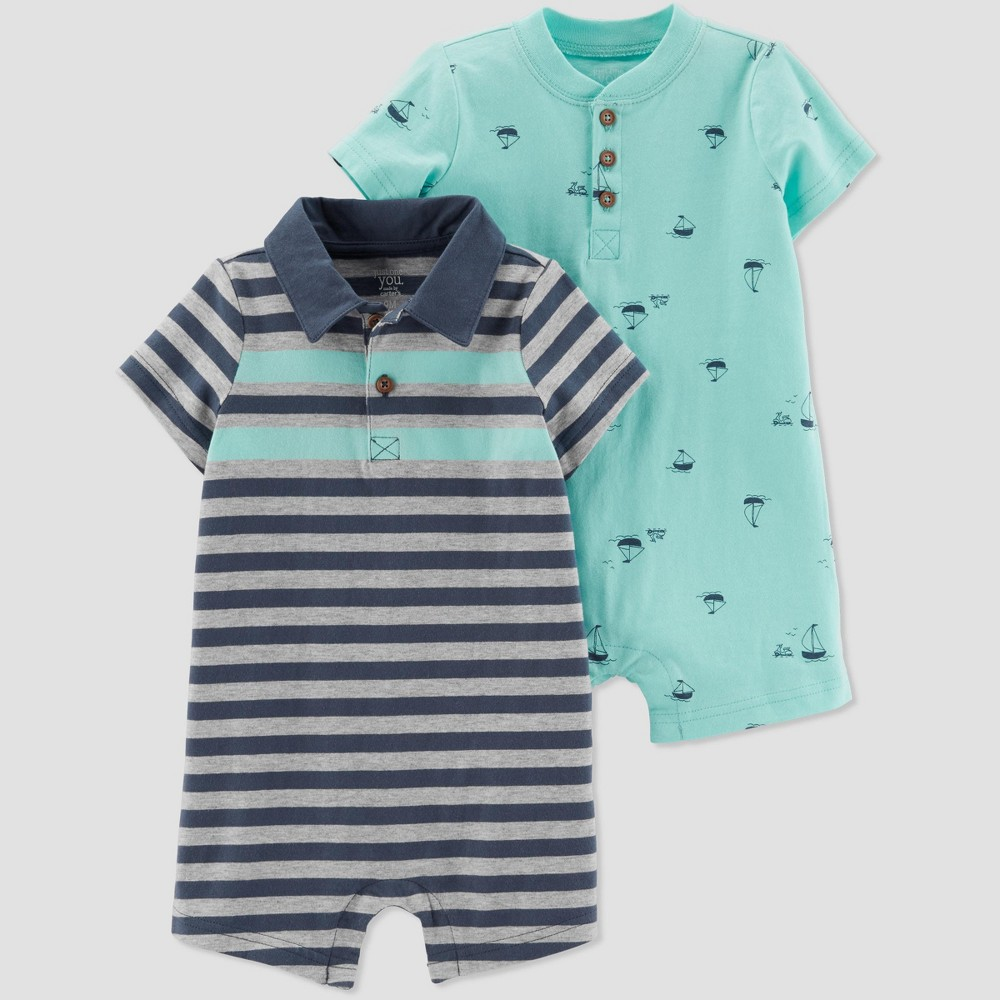 Baby Boys' 2pk Striped and Boat Rompers - Just One You made by carter's Green/Navy Blue 9M
