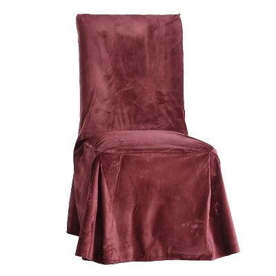 Tonal Merlot Microfiber Velvet Dining Chair Slipcover