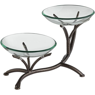 """Kensington Hill Metal Branching 20 1/2"""" High 2-Tier Stand with Glass Bowls"""