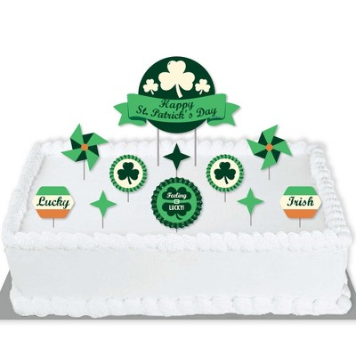 Big Dot of Happiness St. Patrick's Day - Saint Patty's Day Party Cake Decorating Kit - Happy St. Patrick's Day Cake Topper Set - 11 Pieces