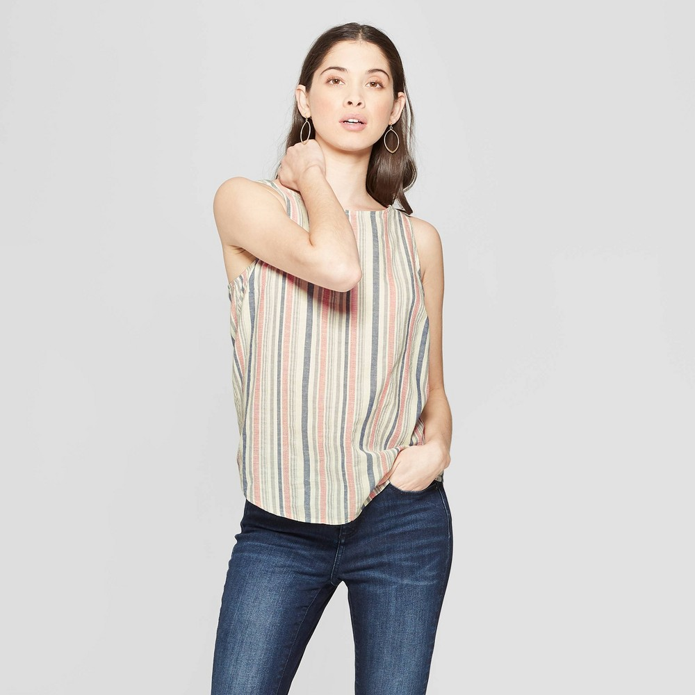 00f0b7ff63c50f Womens Striped Button Back Tank Universal Thread Sour Cream XS White