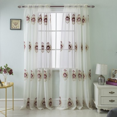 """Ramallah Trading Oslo Embroidered Window Curtain Panel With 2"""" Rod Pocket - 54x84"""""""