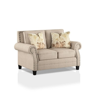 Lakemont Nailhead Trim Loveseat Beige/Gold - HOMES: Inside + Out