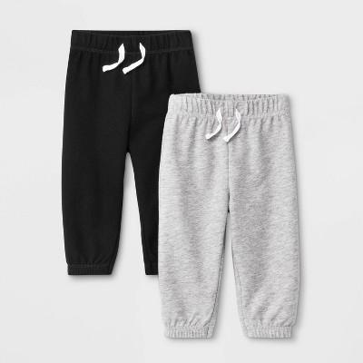 Baby Boys' Jogger Pants - Cat & Jack™ Black/Gray 0-3M