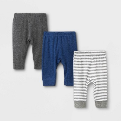 Baby Boys' 3pk Basic Jogger Pull-On Pants - Cloud Island™ Navy Newborn