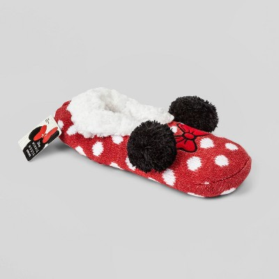 Women's Minnie Mouse Polka Dot Slipper Socks with Pom Poms and Grippers - Red 4-10