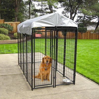 Uptown Dogs Welded Wire Box Kennel - Black with Gray Cover (6'Hx4'Wx8'L)