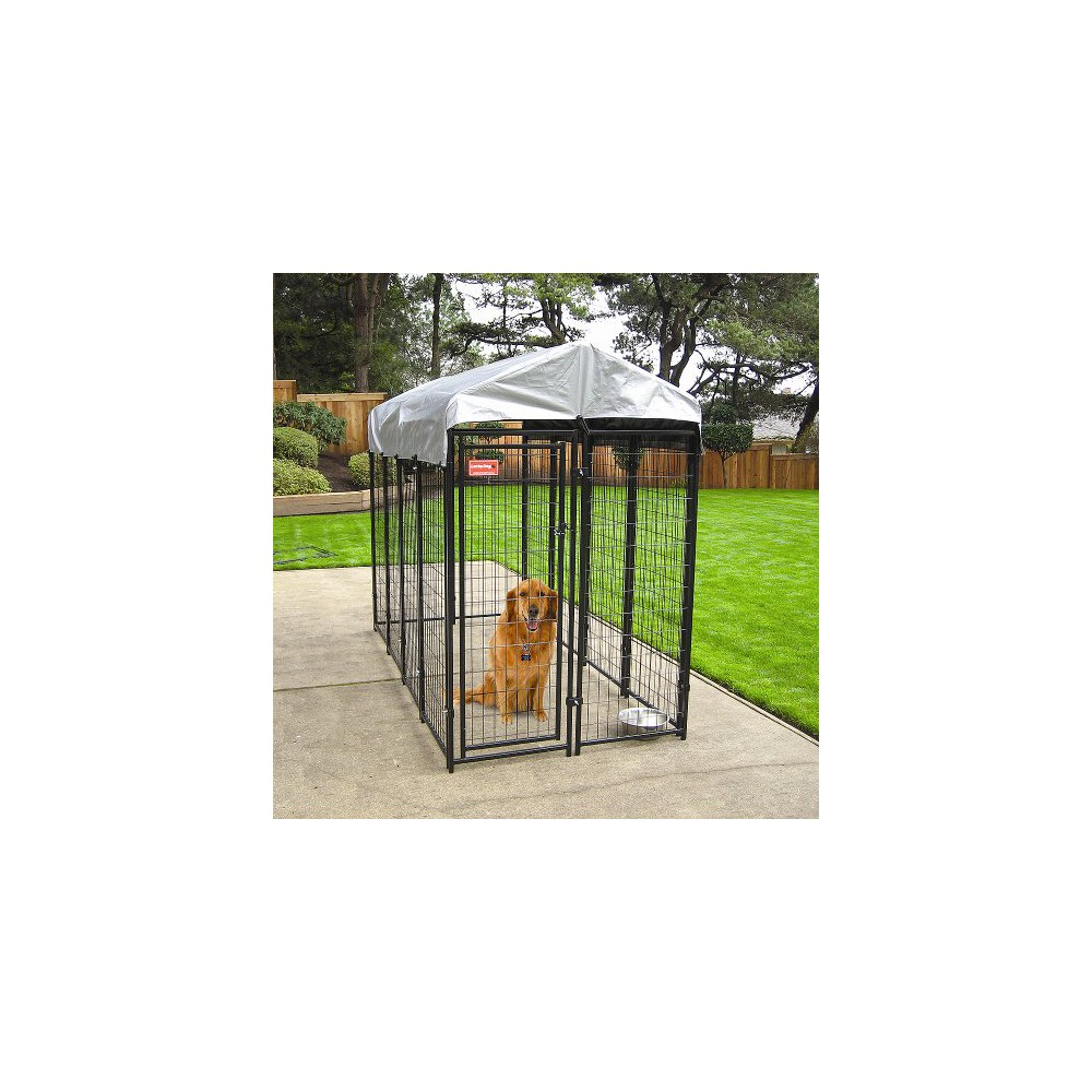 Uptown Dogs Welded Wire Box Kennel - Black with Gray Cover (6'Hx4'Wx8'L), Black/Gray