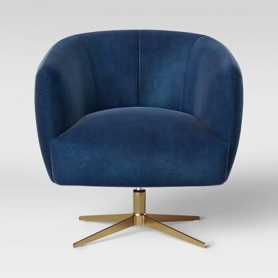 Morpho Swivel Velvet Armchair Navy - Opalhouse™