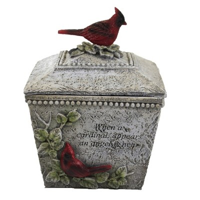 "Home Decor 8.0"" Cardinal Memorial Box Bereavement Sympathy  -  Decorative Jars"