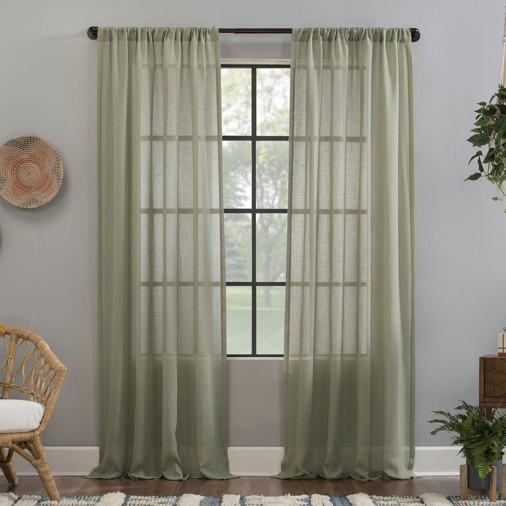"Image of ""52""""x63"""" Crushed Texture Anti-Dust Sheer Curtain Panel Celadon Green - Clean Window"""