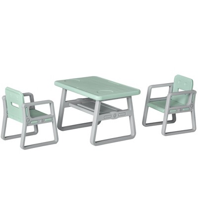 Qaba 3-Piece Kids Table and Chair Set Writing Desk with 2 Comfort Chairs Storage Space & Good Materials