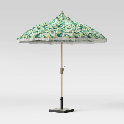 9' Carousel Shape Patio Umbrella DuraSeason Fabric™ Opal Tropical with Fringe White - Light Wood Pole - Opalhouse™